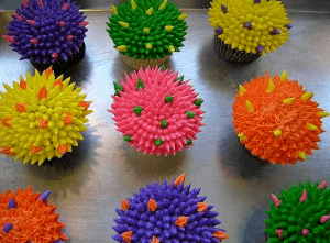 Colorful cupcakes to help with bakery marketing