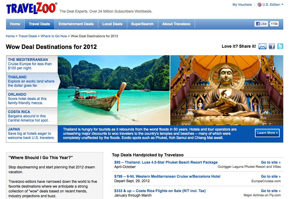"""Note how Travelzoo gives us the """"WOW"""" destinations for 2012, which ..."""