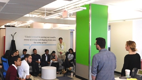 Junior Achievement at Upserve Offices learning from the marketing team