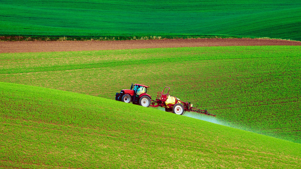 tractor on hills