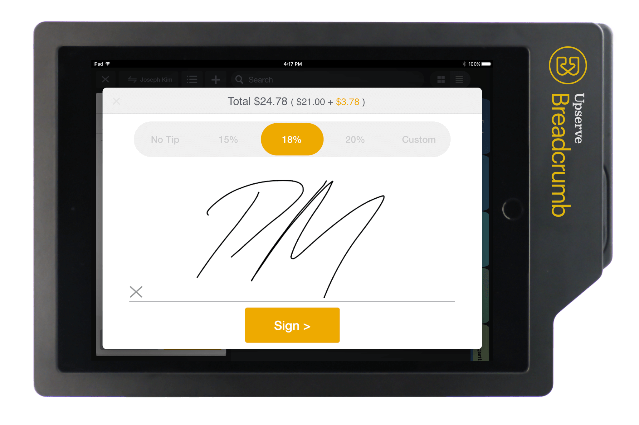 Enable quick checkouts by allowing customers to sign right on the ipad