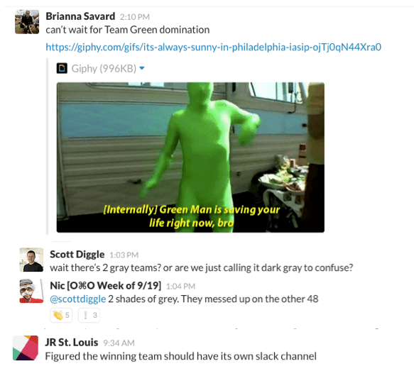 Upserve Team Bonding Slack Smack talk