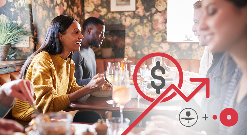 Diners in a restaurant enjoy a meal. Overlaid on the image is a graphic of a dollar sign and an arrow pointing up, indicating an increase in profits.