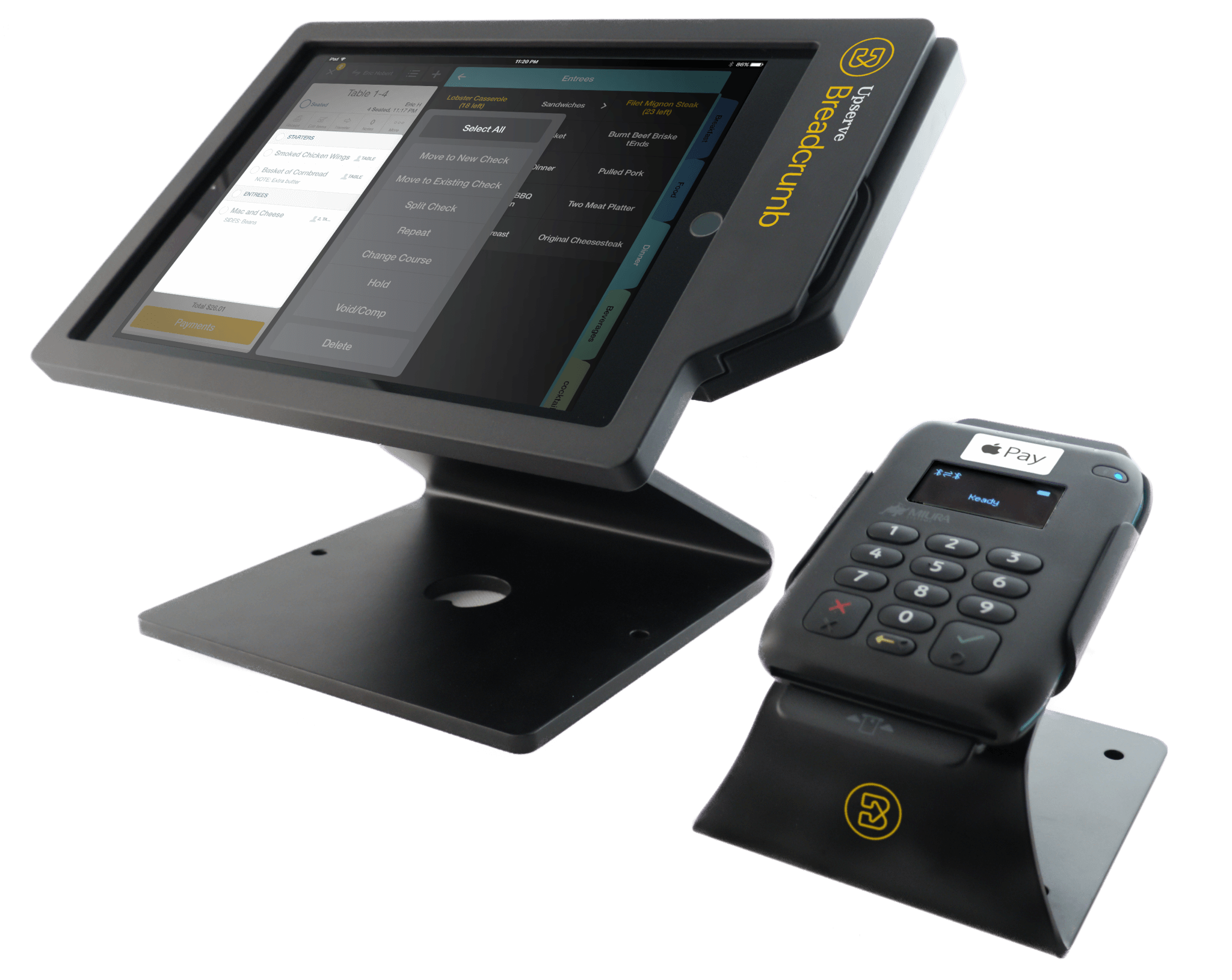 Upserve POS with EMV terminal to accept credit cards