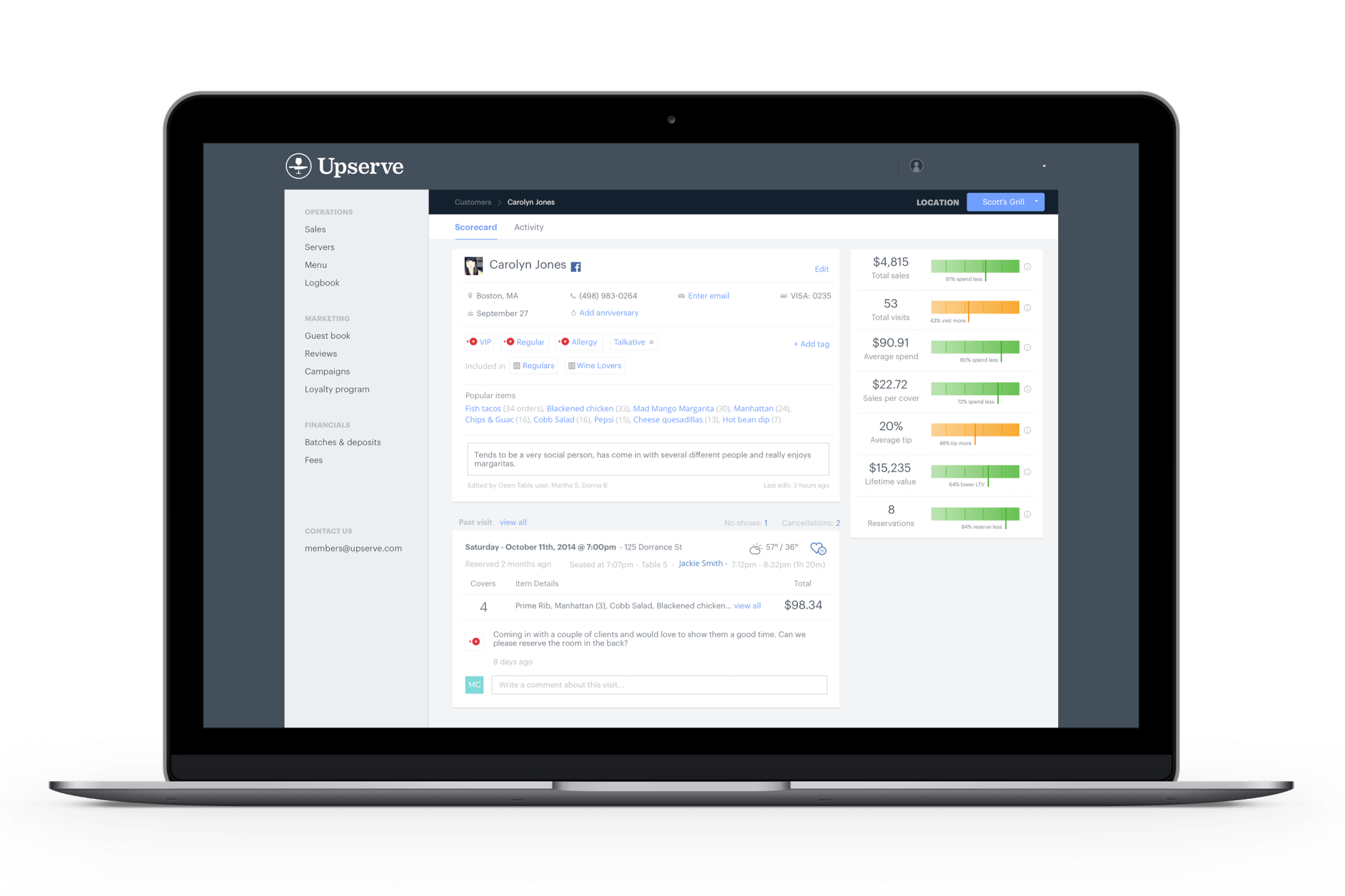 Track your VIPs and your customer loyalty through Upserve's guestbook