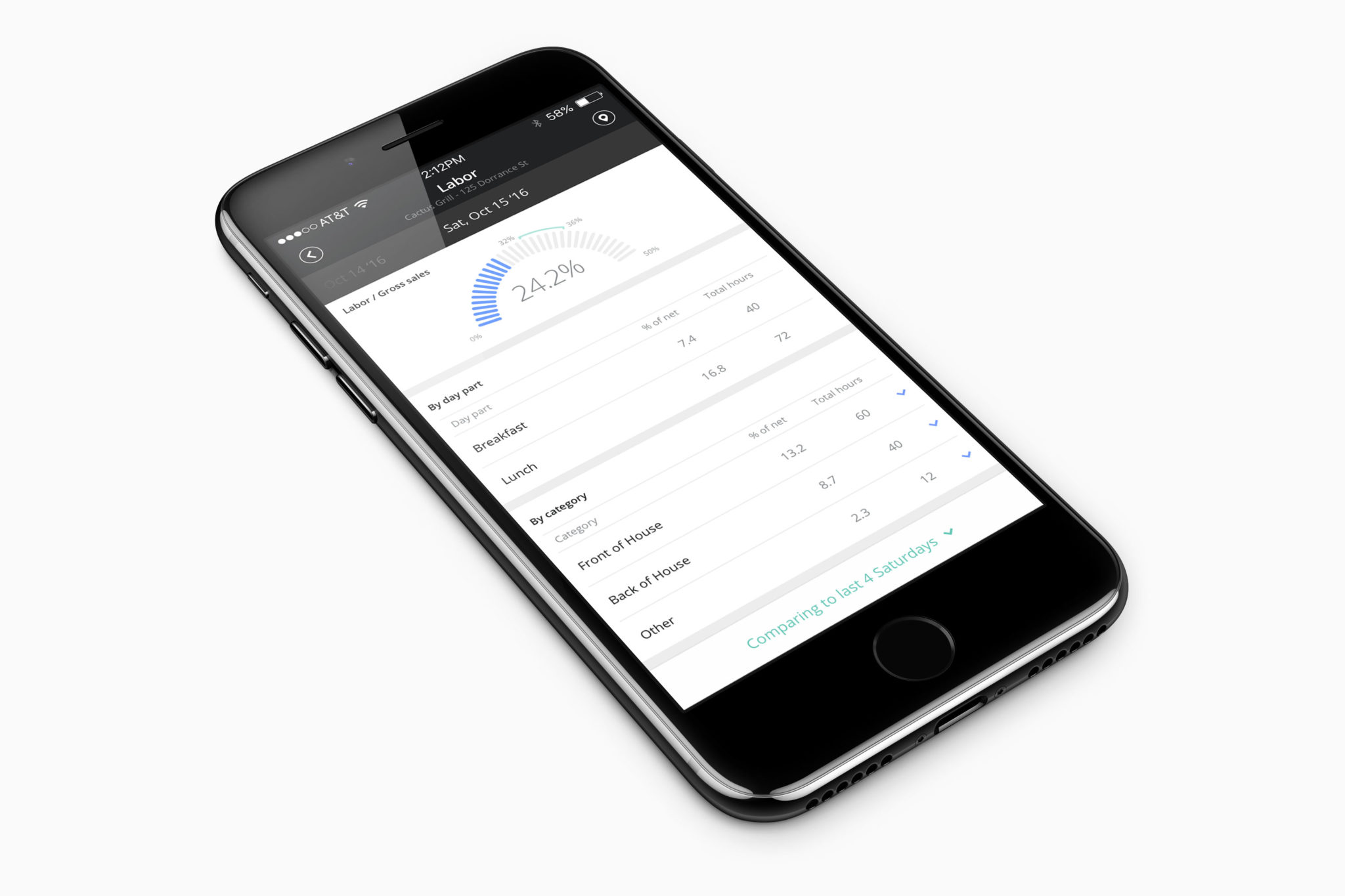 Upserve Live App Labor Cost Perspective on Mobile