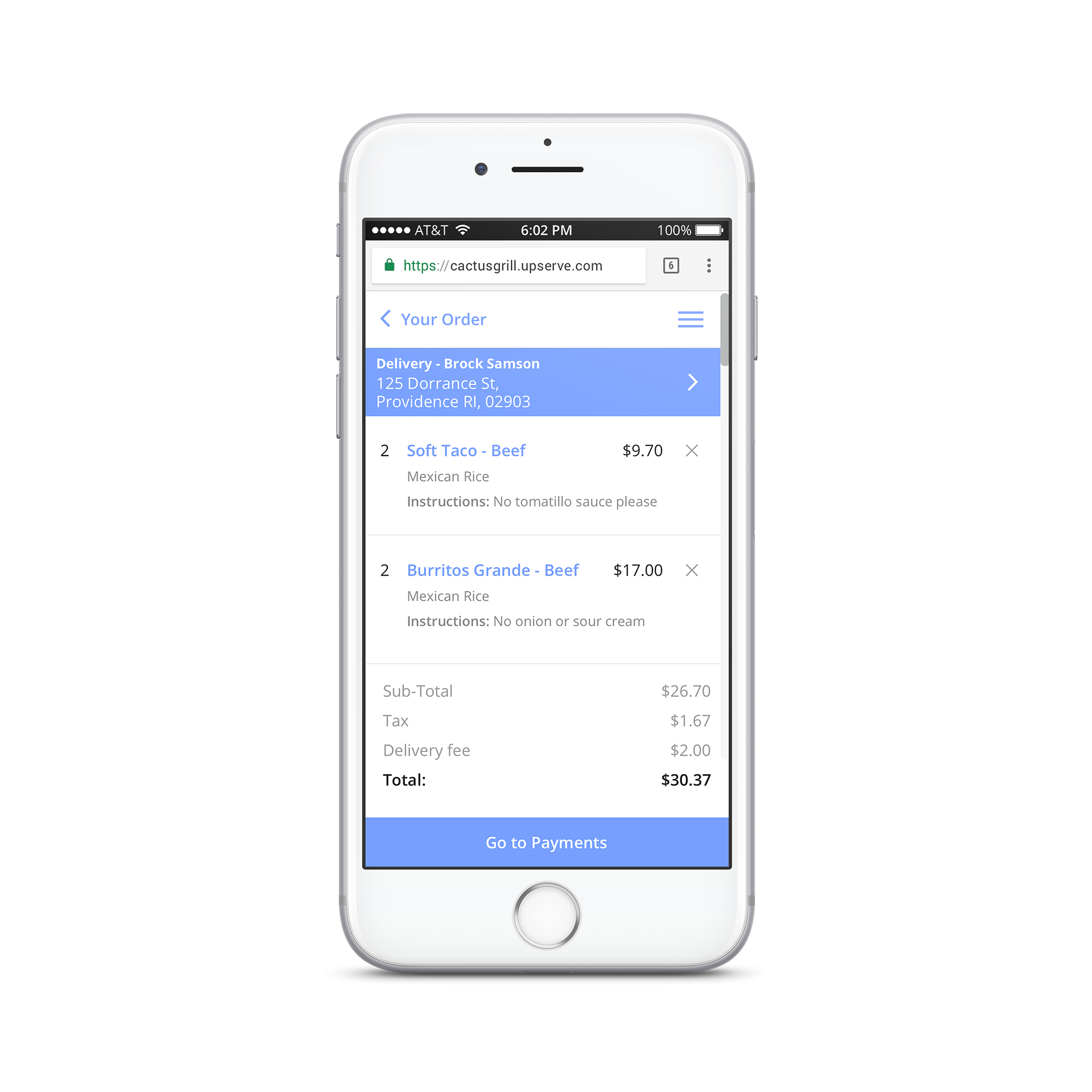 Upserve Online Ordering Mobile View
