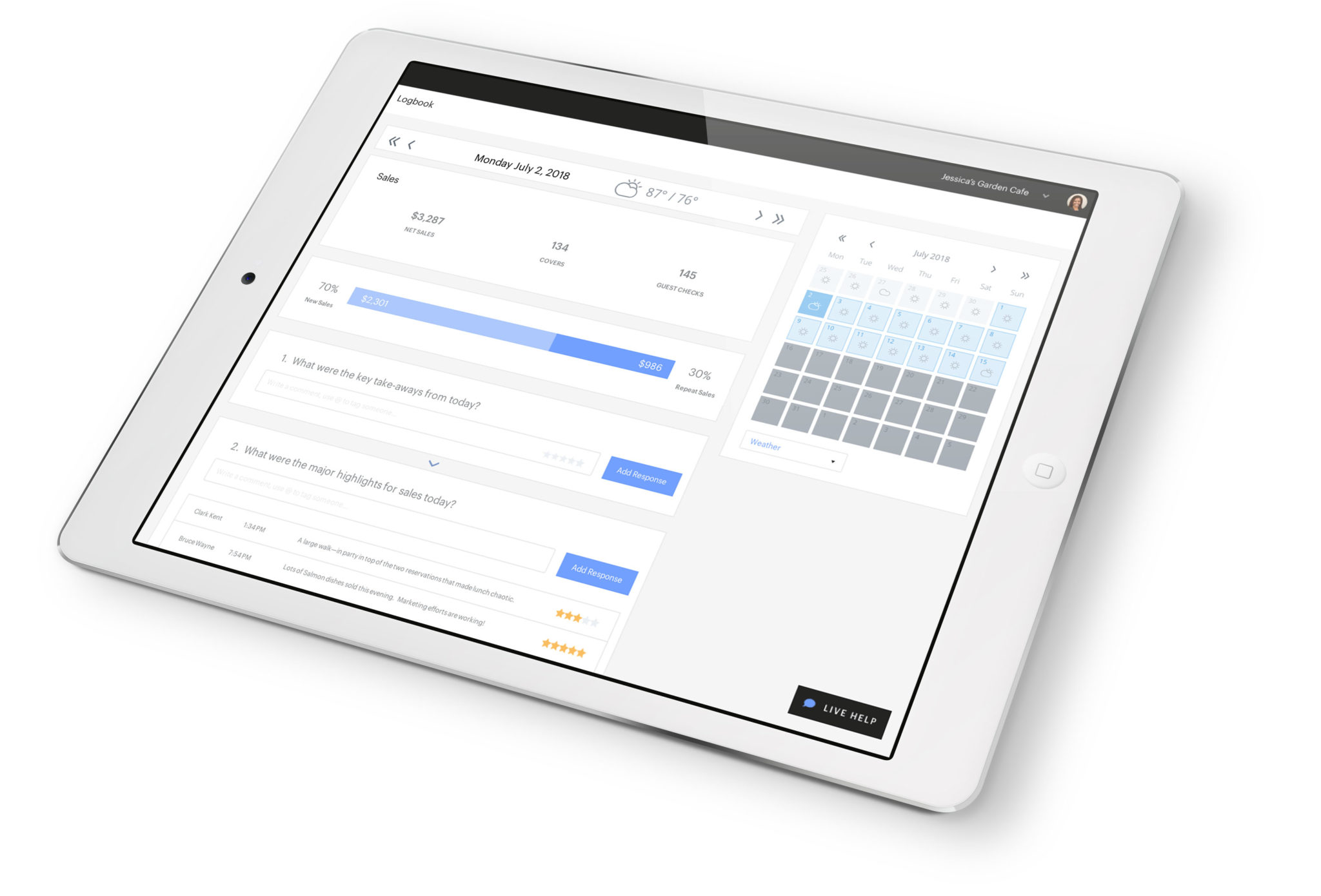Restaurant Analytics on iPad