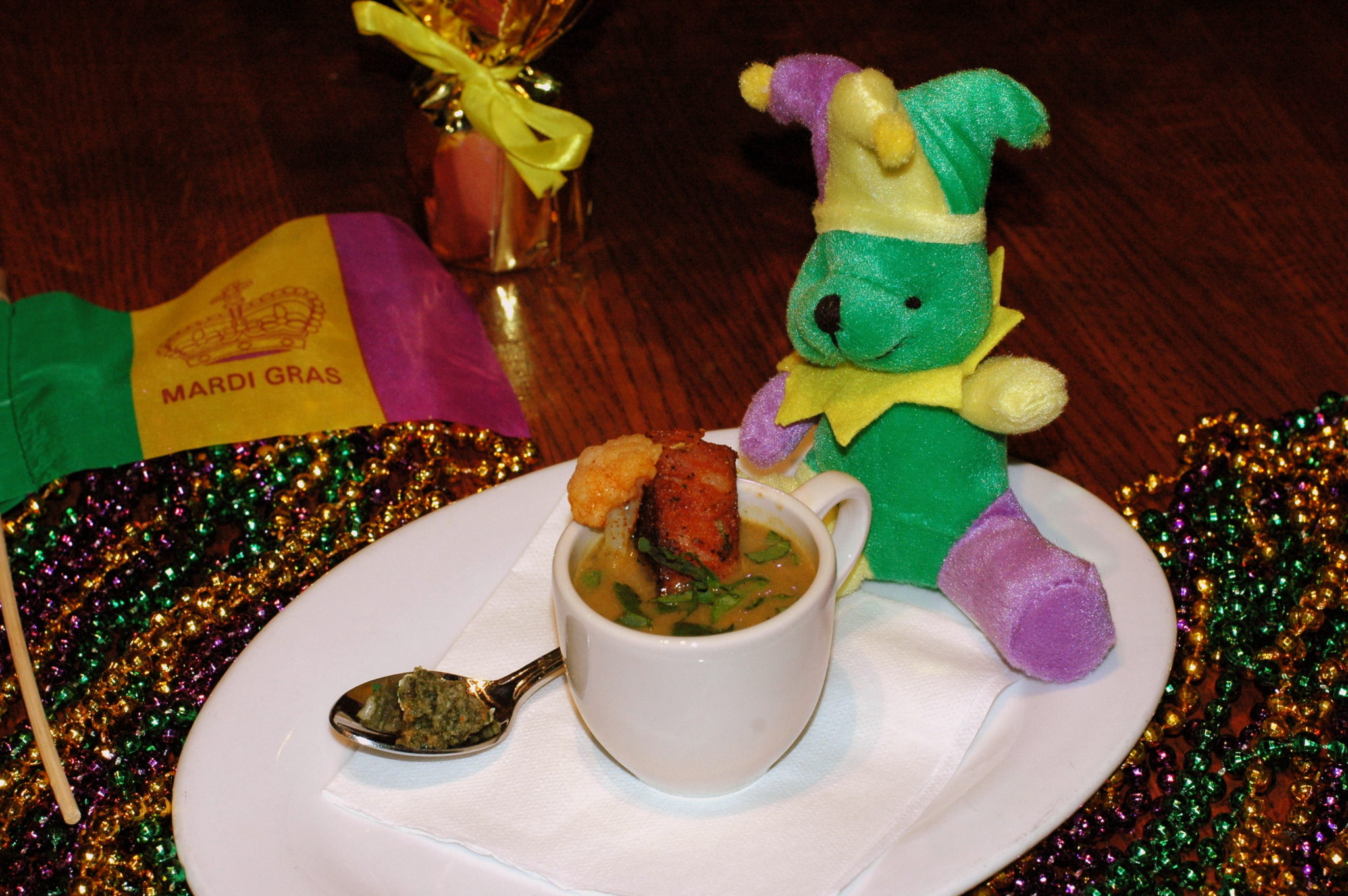 Bluegrass chicken and sausage gumbo mardi gras