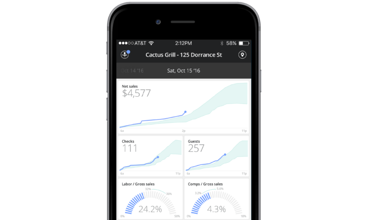 Upserve Live restaurant analytics on iphone