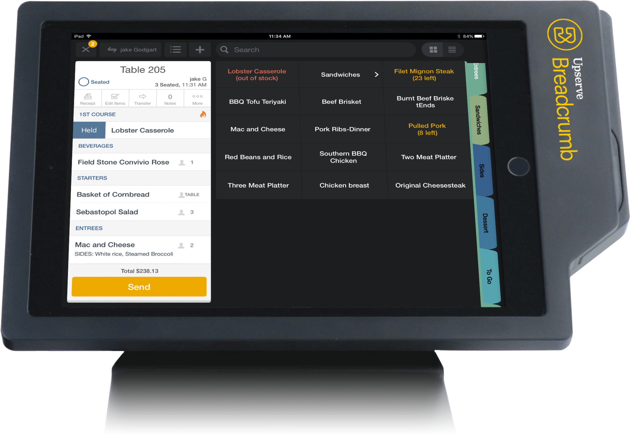 A simple and intuitive restaurant menu set up on Breadcrumb POS