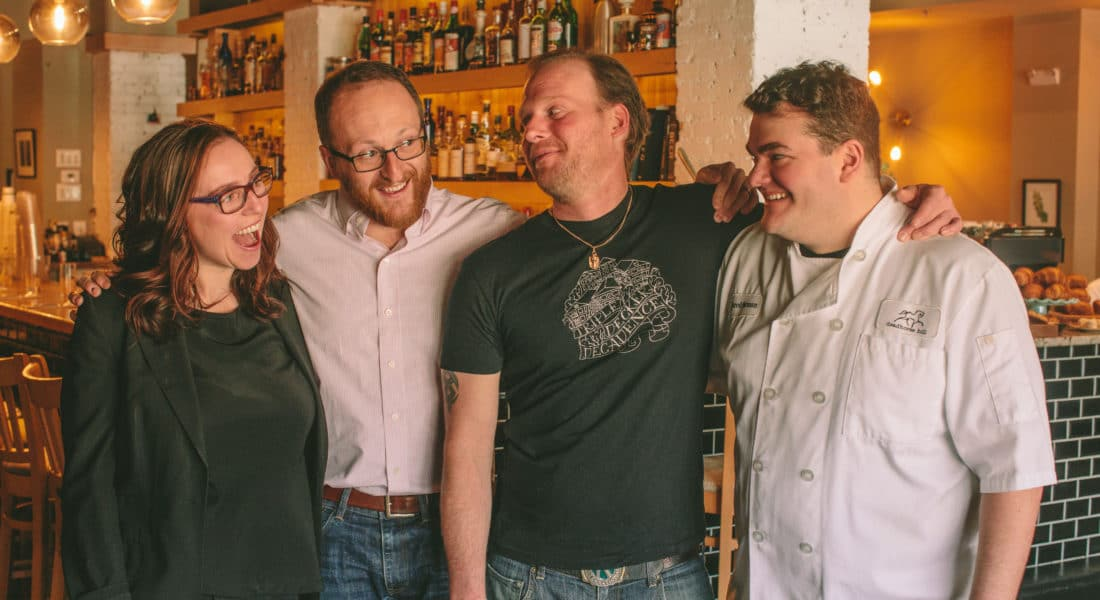 From left, Deadhorse Hill general manager and wine director Julia Auger, and owners Albert LaValley, Sean Woods and Jared Forman. Photo Credit Brian Samuels Photography