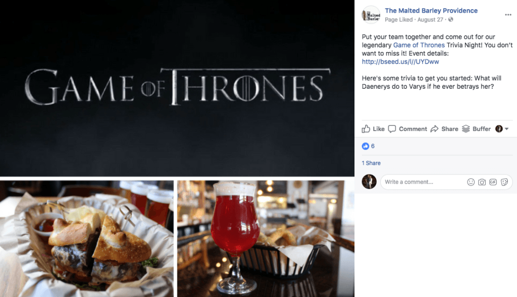 The Malted Barley Providence Game of Thrones Trivia Night