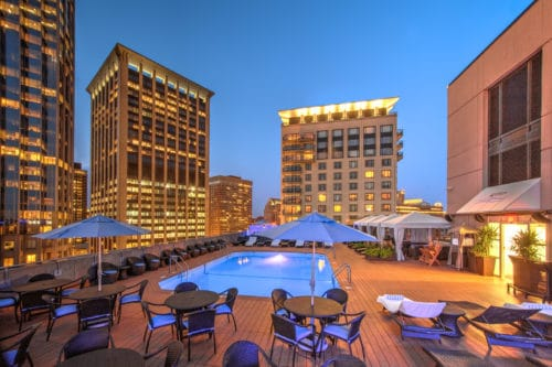 Upserve rooftop poolside dining Colonnade Boston