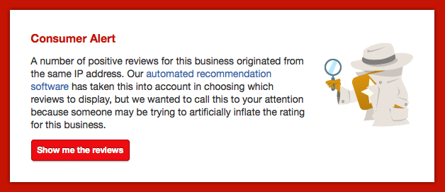Yelp notice saying that fake reviews will be removed and company will be punished