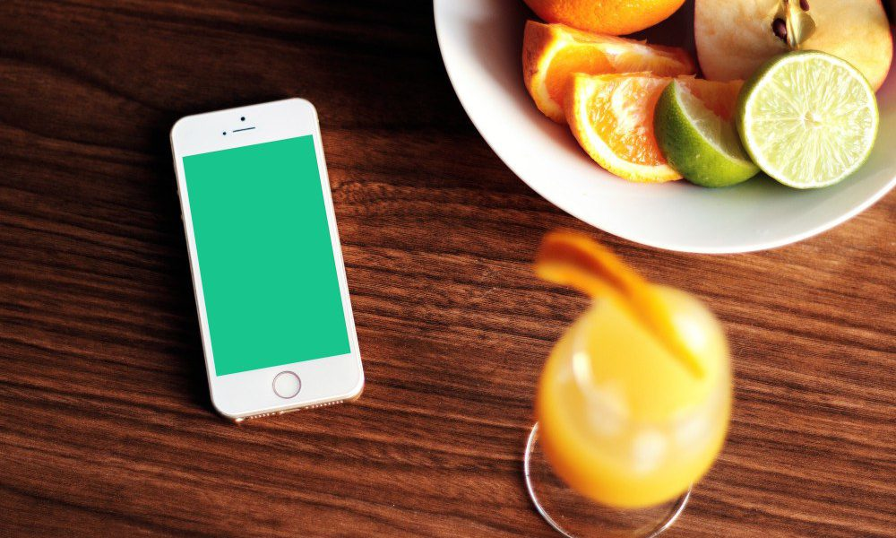 iPhone app and citrus slices