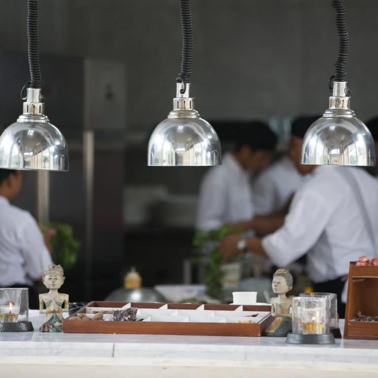 Open kitchen style for observation chef working