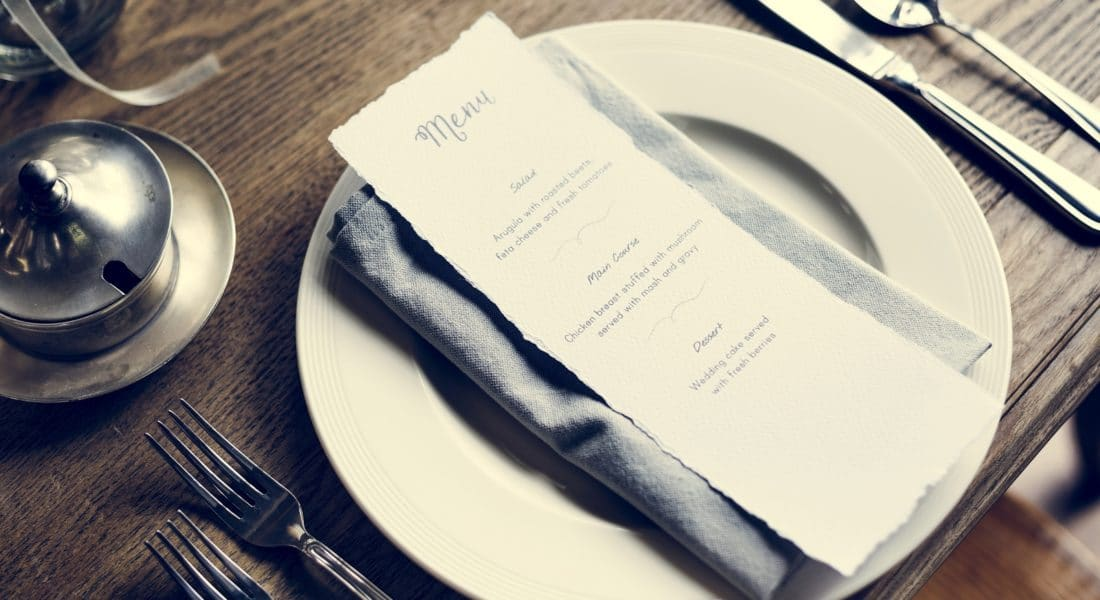 restaurant menu on the table