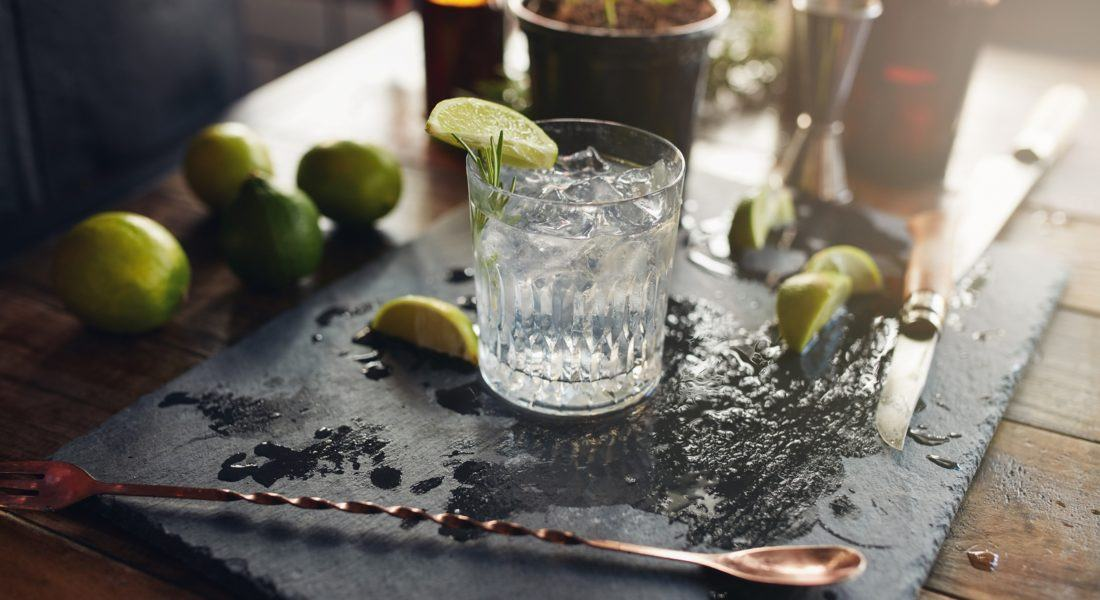 Close up of glass of a freshly prepared gin and tonic with lemon slices and spoon on the counter.