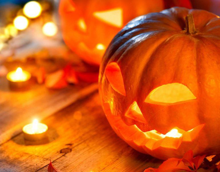 halloween jack o lantern pumpkin and candles