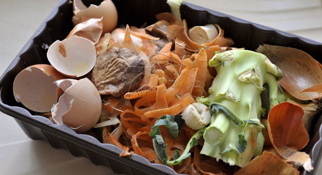 Kitchen food and vegetable waste collected in a reused container for recycling via a home composter or wormery.