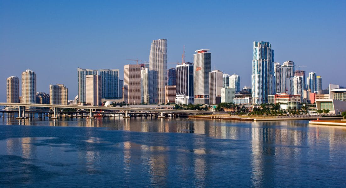 Early Morning View of Miami Bayfront Skyline