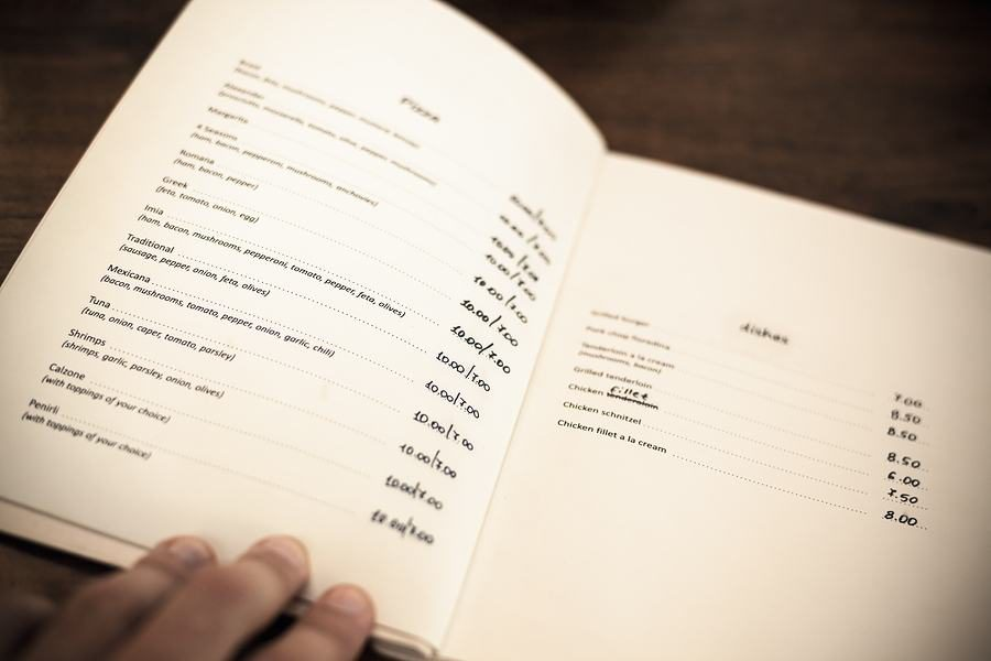 open restaurant menu