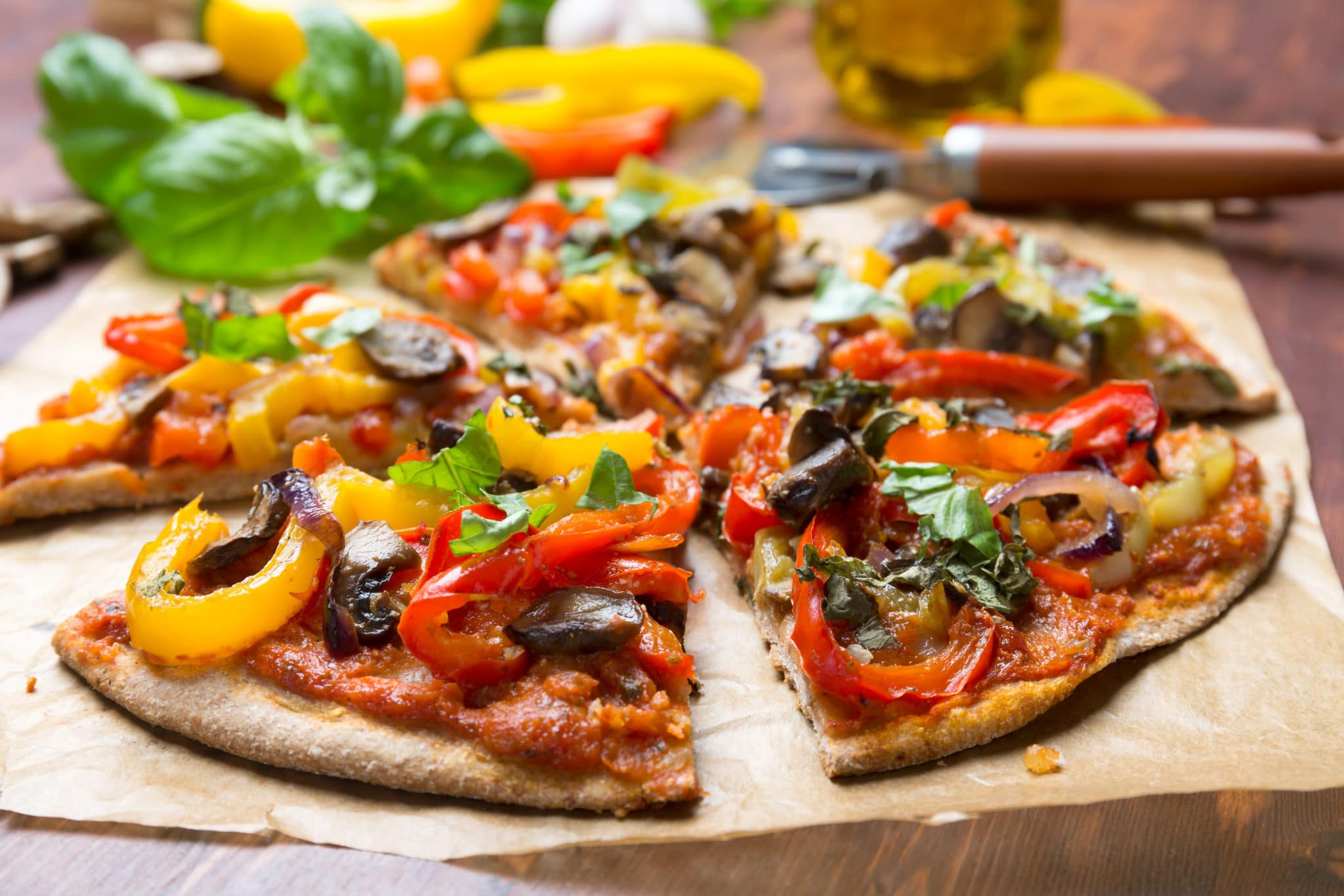 Super Healthy Sliced Vegan Whole Grain Vegetables and Mushrooms Pizza
