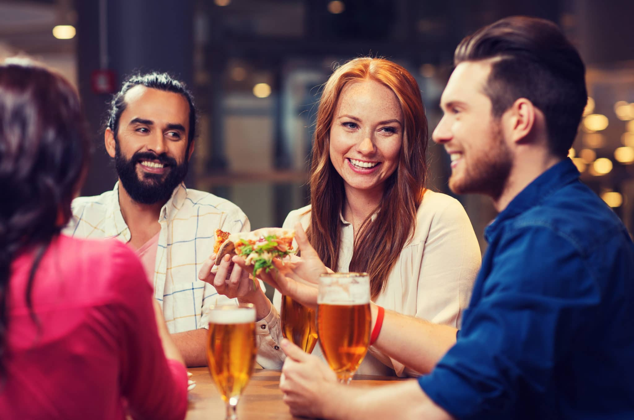 leisure, food and drinks, people and holidays concept restaurant beer sour - smiling