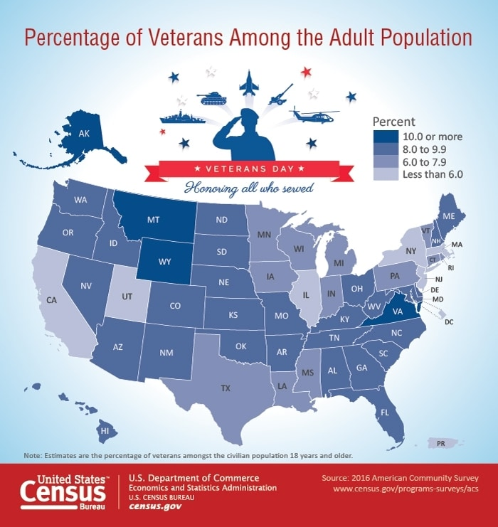 percentage of veterans among the adult population map