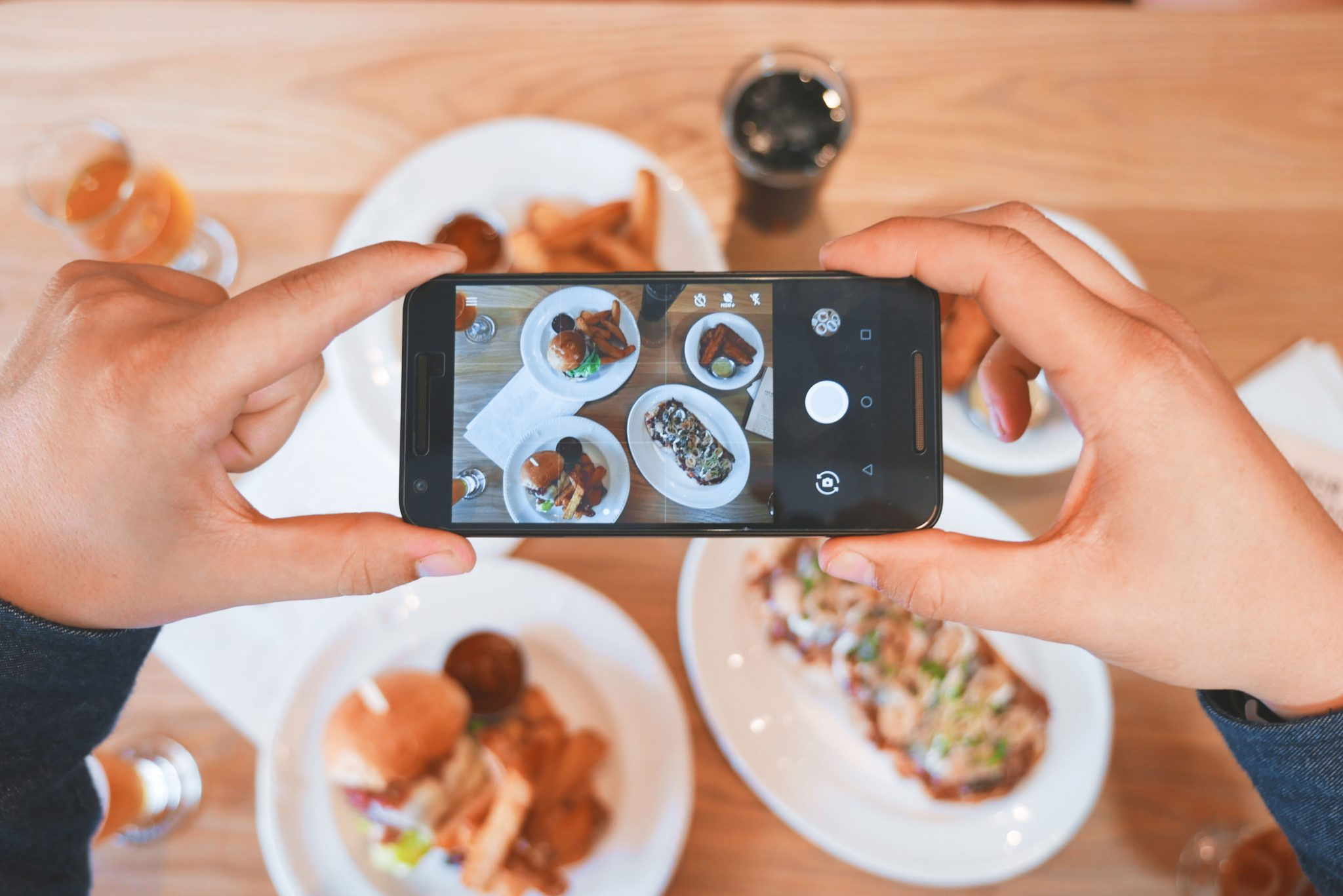 taking a photo of food with iphone