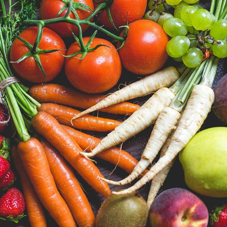 Root vegetables and fresh fruits