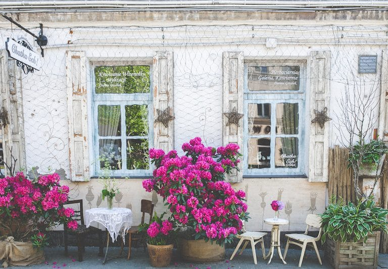 vintage restaurant with pink flowers