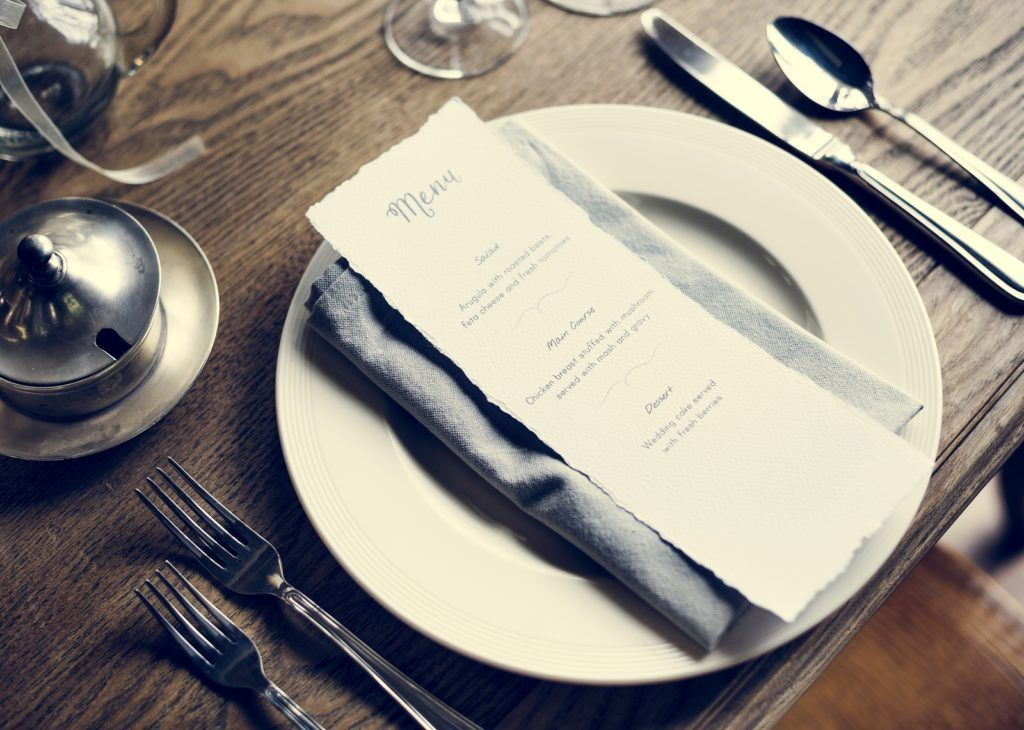 restaurant menu at the table