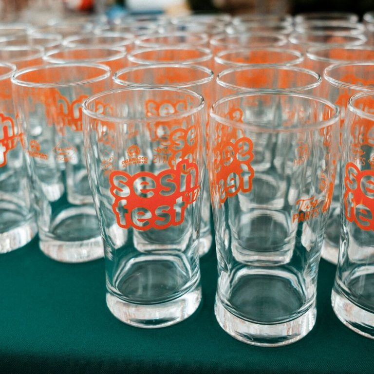 Glasses at this year's Sesh Fest, a beer festival in Denver, Colorado, devoted to easy-drinking beers. (Photo courtesy of Sesh Fest)